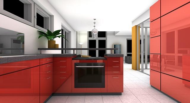 květina, červená kuchyně, návrh