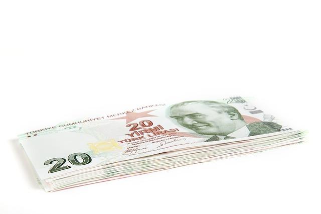 hromádka tureckých bankovek